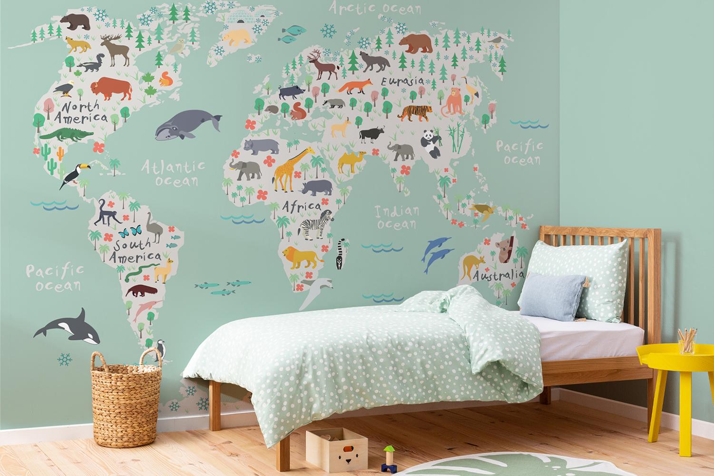 Suggestions pour décorer une chambre d'enfant carte géographique | Décor Mon Mur